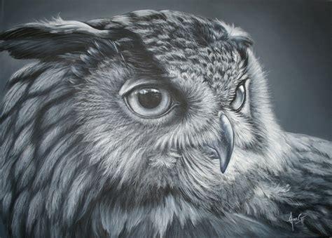 imagenes en blanco y negro de buhos pintura en acr 237 lico cuadro buho real