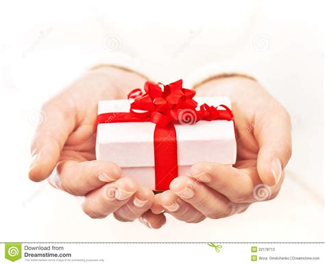 Gift In - holding beautiful gift box stock image image 22178713