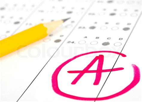 School and Education Test paper with result | Stock Photo ... A-test Paper