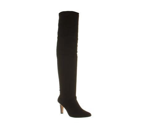 office nouveau 2 thigh high slouch black suede knee boots