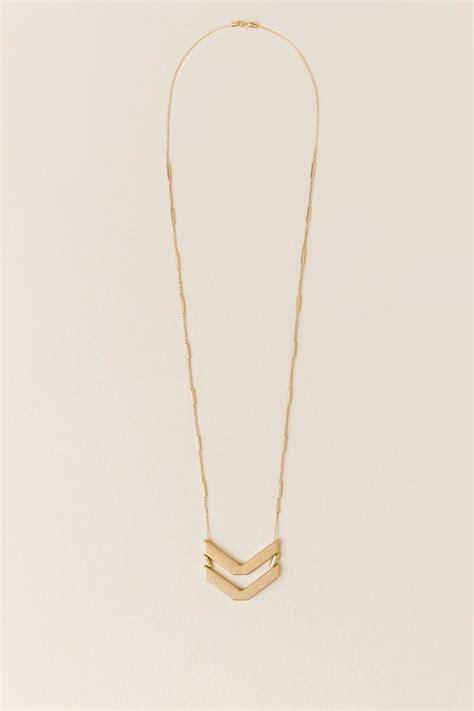 diem chevron pendant necklace in gold s