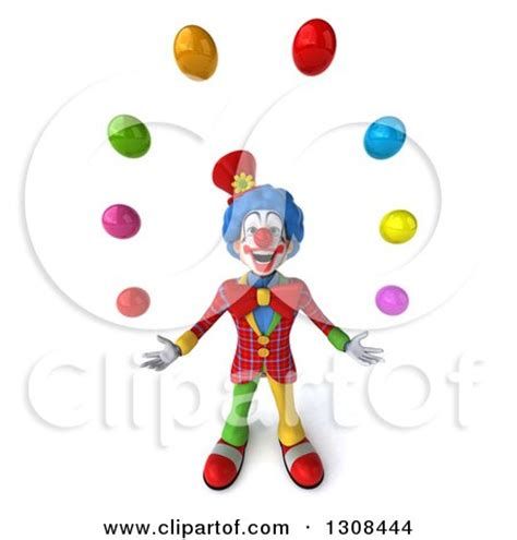juggler 3d pattern clipart of a 3d clown character looking up and juggling
