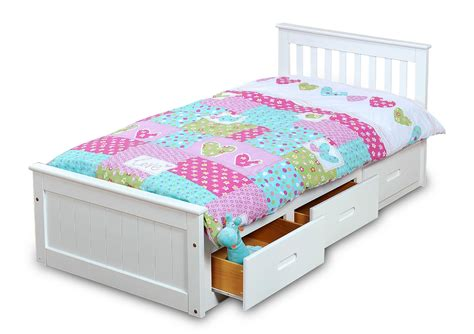 kids storage bed white mission children s 3ft single wooden bed with 3