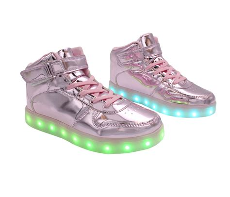 Shoes Glossy Led galaxy led shoes high top light up sneakers for and pink glossy back to the future