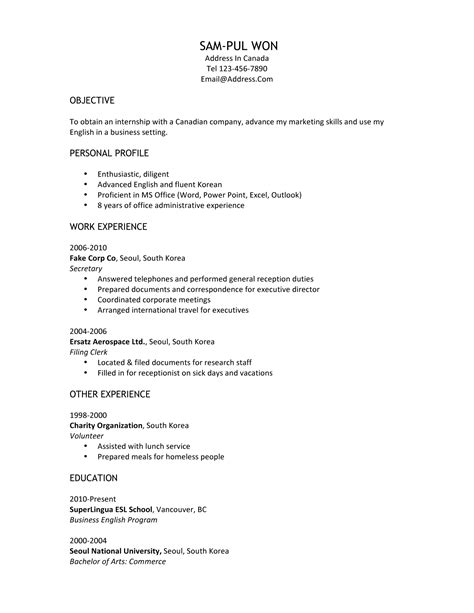 Resume Template Canada by Resume Format Canadian Resume Format Exle