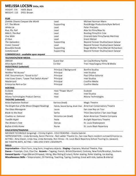 3 acting resume exle for beginners cashier resumes
