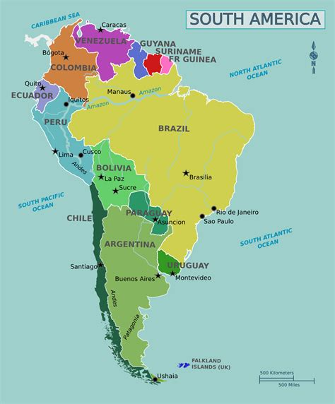 south america map map of south america maps and large political map of south america french guiana