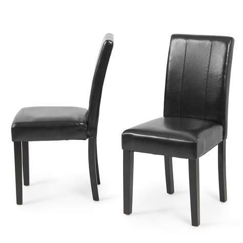 Leather Parsons Dining Room Chairs by Set Of 2 Modern Design Leather Parsons Dining Living Chairs Furniture Ebay