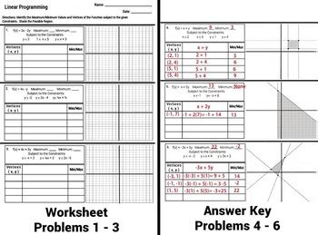 Linear Programming Worksheet With Answers by Linear Programming Worksheets Resultinfos