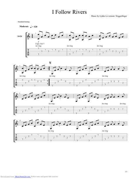 i follow rivers guitar pro tab by triggerfinger