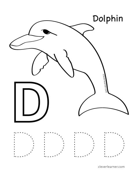 d coloring pages for kindergarten d is for dolphin free letter practice worksheets for