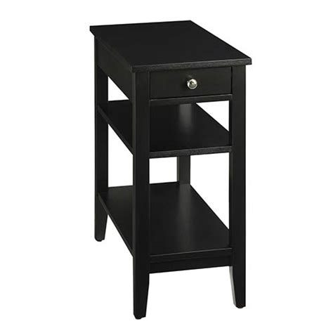 black end table with drawer convenience concepts heritage black three tier