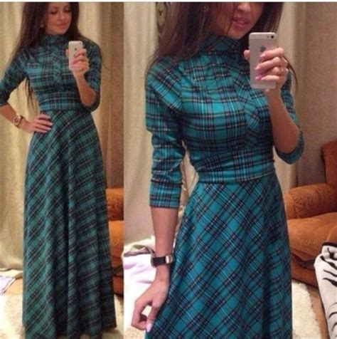 Tartan Maxi Longdress 2018 dresses for to the floor length plaid maxi