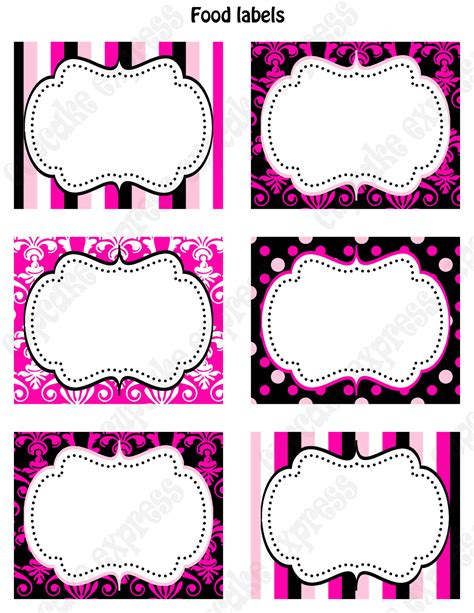 printable party labels diy barbie inspired birthday party printable food labels