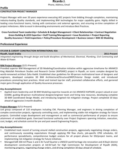 Resume Of Project Manager Pdf Project Manager Resume Template For Excel Pdf And Word