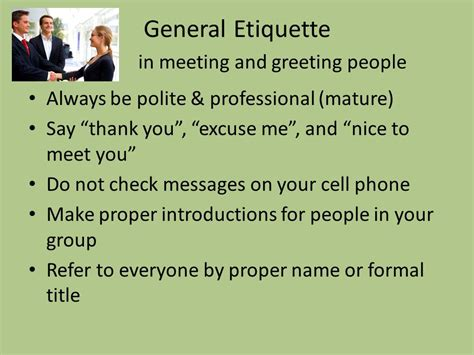 new year greeting etiquette business etiquette greeting and meeting ppt