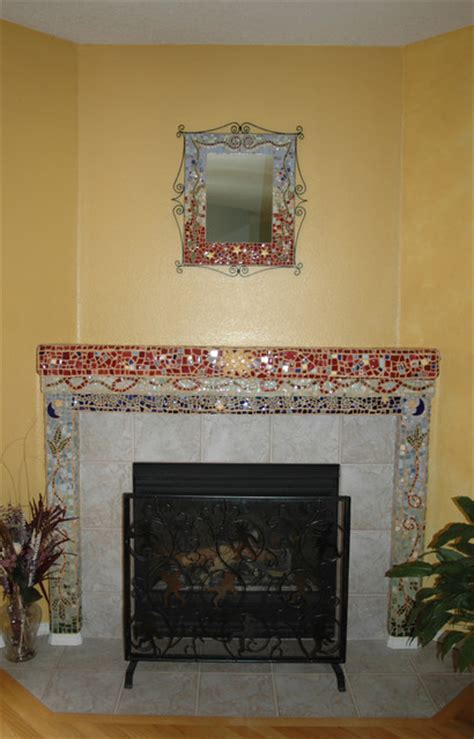 mirror fireplace mantel eclectic living room