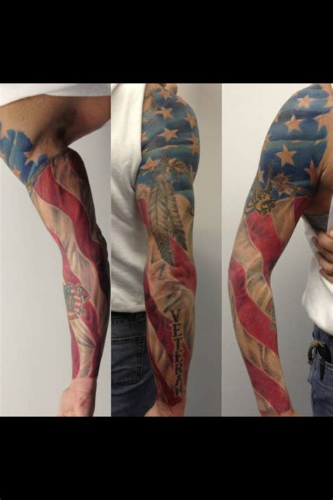 patriotic sleeve tattoos american flag sleeve live wire arts artist chris