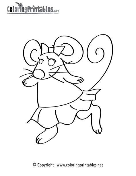 Girl Mouse Coloring Page | free printable girl mouse coloring page