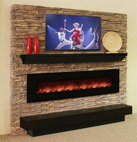 this modern mantel shelf has a tiered effect and is