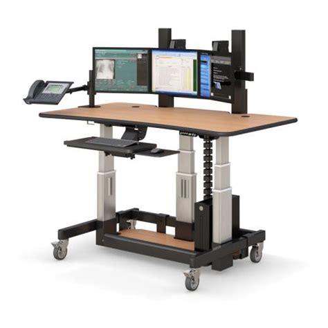 uplift height adjustable sit stand desk adjustable height radiology imaging workstation