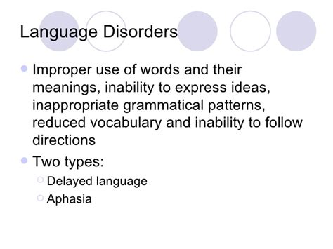 pattern of language impairment speech and language disorders