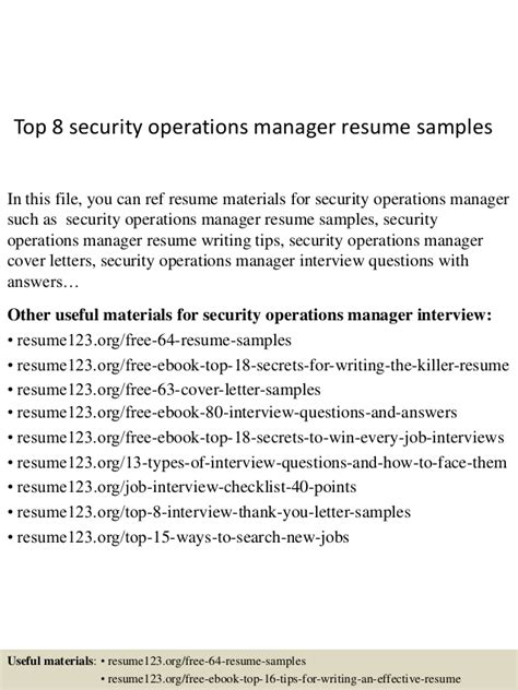 best security supervisor resume exle top 8 security operations manager resume sles