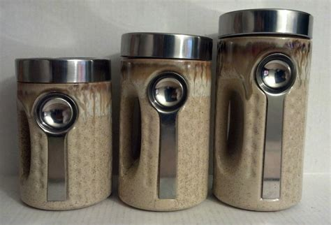 Modern Kitchen Canister Sets | 3 piece tan canister set modern kitchen with spoon attached