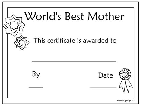 printable gift certificate template mother s day 9 best images of mother s day certificate template happy
