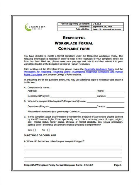 free hr complaint forms business plan templates sle
