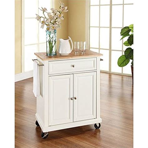 white kitchen island with natural top crosley furniture natural wood top portable kitchen cart