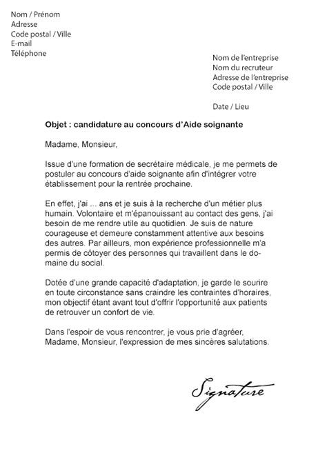 Lettre De Motivation Lettre Type Gratuite Lettre De Motivation Gratuite Aide Soignante