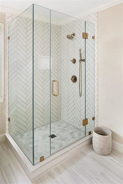 bathroom shower photos shower with white herringbone tiles and gray grout