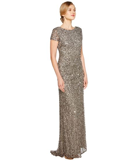 dress cap sleeve beaded sequin gown papell cap sleeve scoop back beaded dress