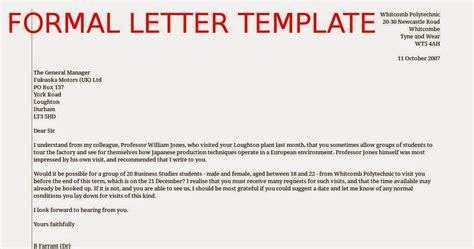 Formal Letter Template