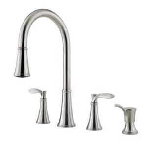 2 Handle Pull Down Kitchen Faucet petaluma 2 handle pull down sprayer kitchen faucet with soap dispenser