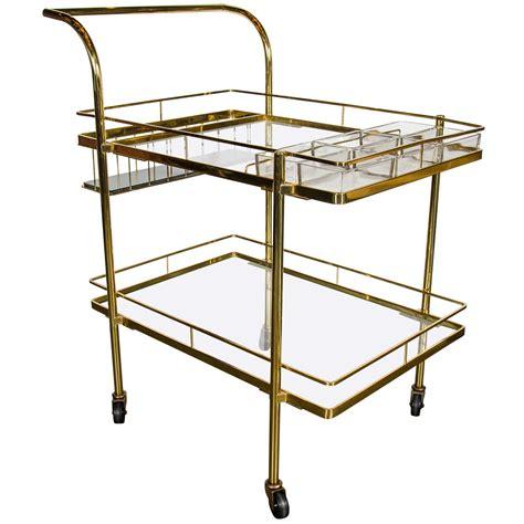 modern bar cart sophisticated mid century modern bar cart in brass with glass shelves
