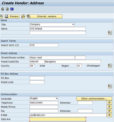 Sap Vendor Table by How To Create Vendor Master Data Sap Tutorials