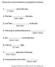 homophones worksheets complete the sentences with