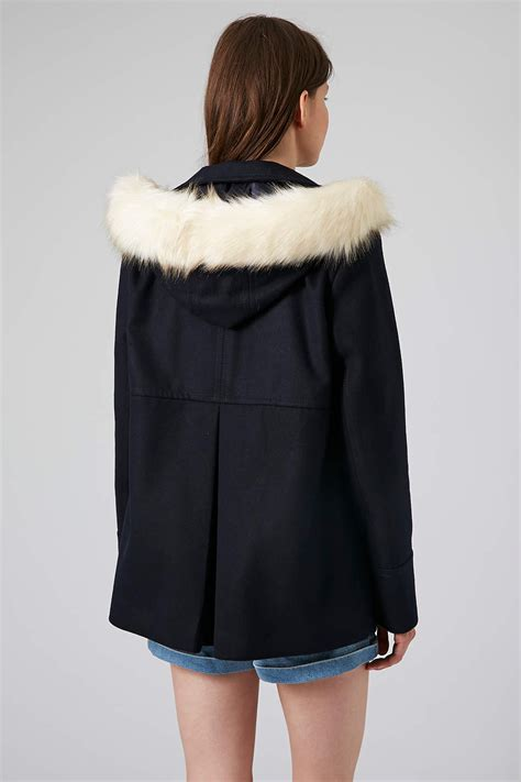 hooded swing coat lyst topshop fur hooded swing coat in blue