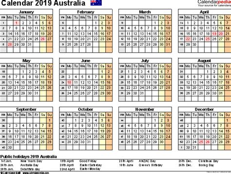 Calendar 2019 Pdf Australia Calendar 2019 Free Printable Pdf Templates