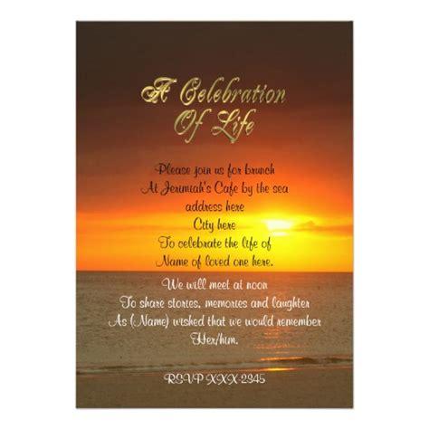 Celebration Of Life Invitation Sunset Zazzle Celebration Of Invitation Template