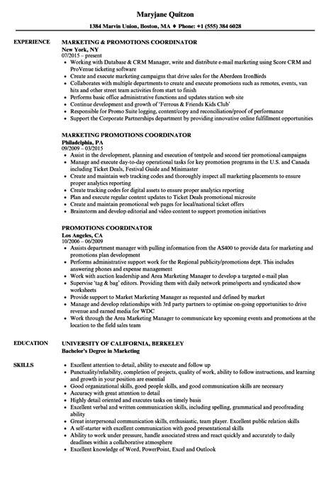 Promotions Coordinator Resume Sles Velvet Jobs Promotion Resume Template