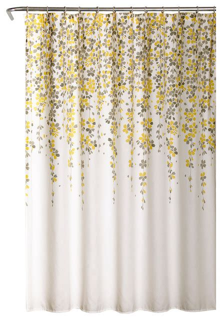 gray yellow shower curtain weeping flower shower curtain yellow gray 72 quot x72