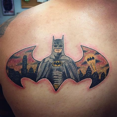 batman tattoo on back of shoulder with bats going over to 21 batman tattoo designs ideas design trends premium