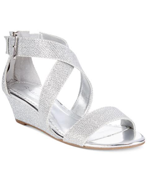 rage karveta glitter wedge sandals in metallic lyst