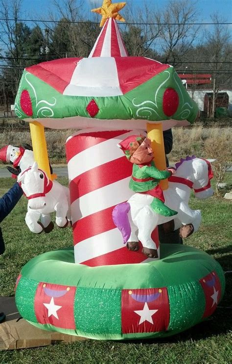 Airblown Yard Decorations by Santa Carousel 79 Quot Yard Decoration Animated