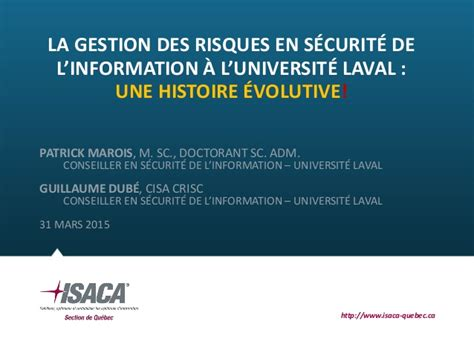 Mba Gestion Internationale Universite Laval by Universit 233 Laval Pr 233 Sentation Sur La Gestion Des Risques