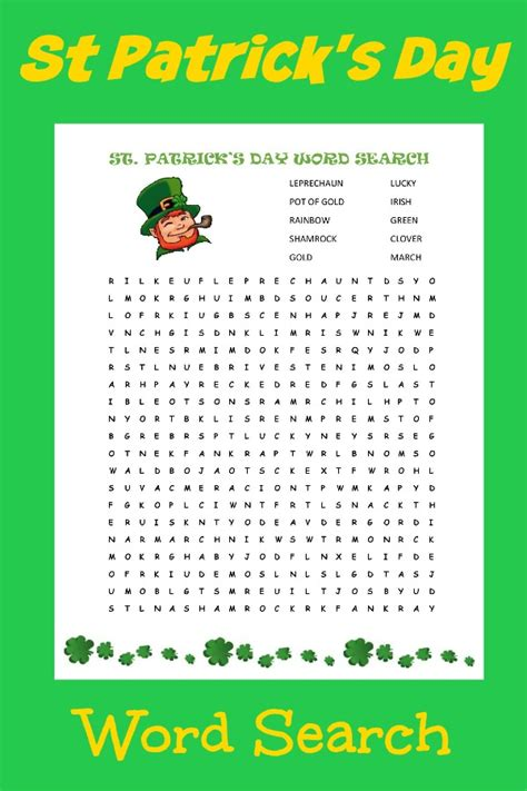 printable irish word games st patrick s day word search