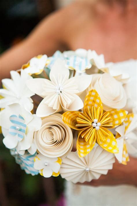 Origami Flower Wedding - bridal bouquet paper flowers kusudama origami roses